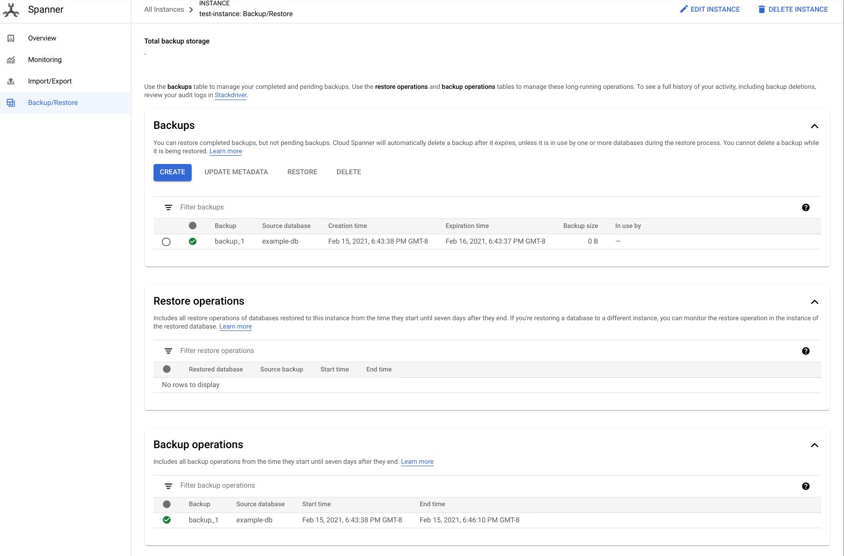 Screenshot of Backup and Restore tab