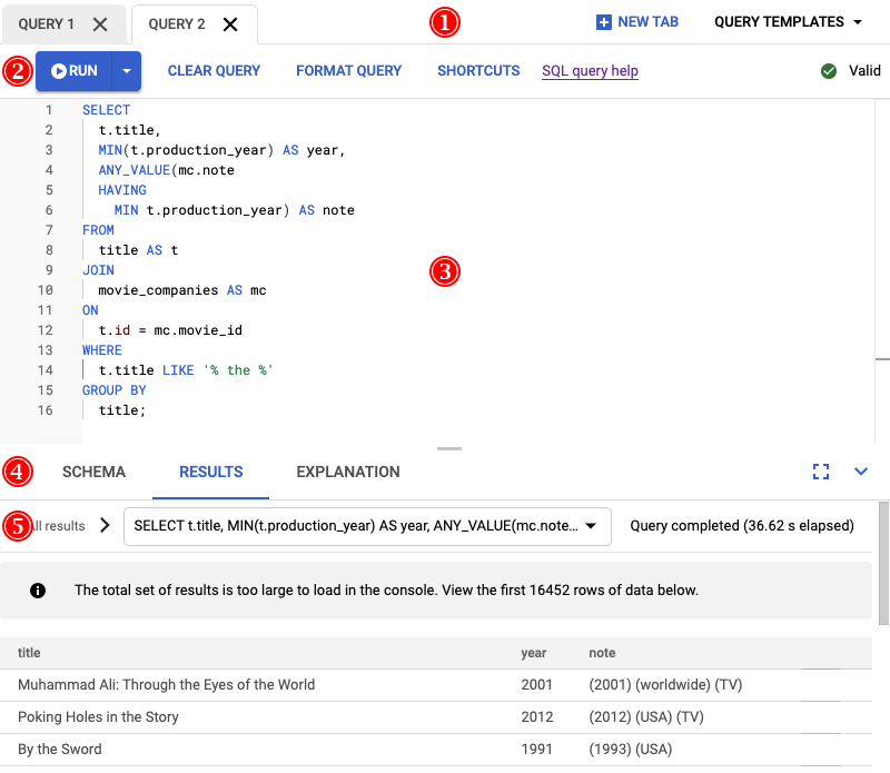 Annotated query editor.