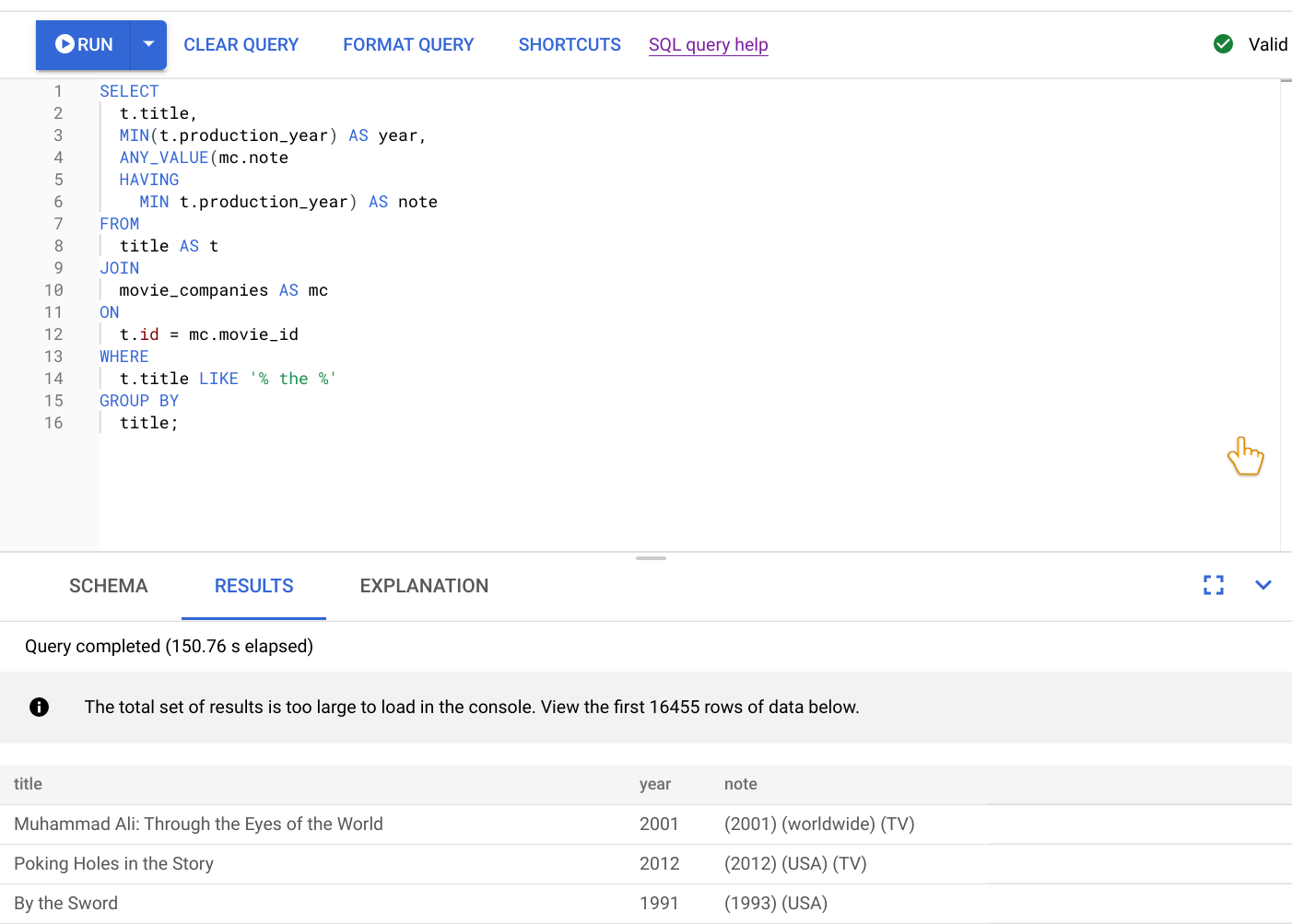Query editor displaying original query