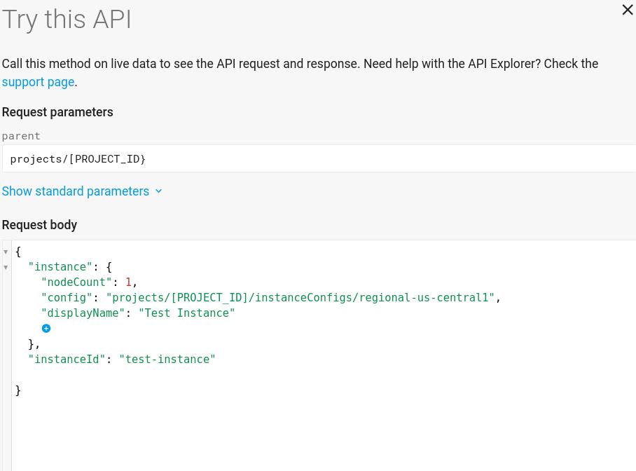 Screenshot of instance creation