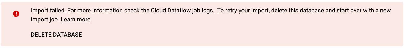 Import job failure message