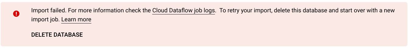 Import job failure message
