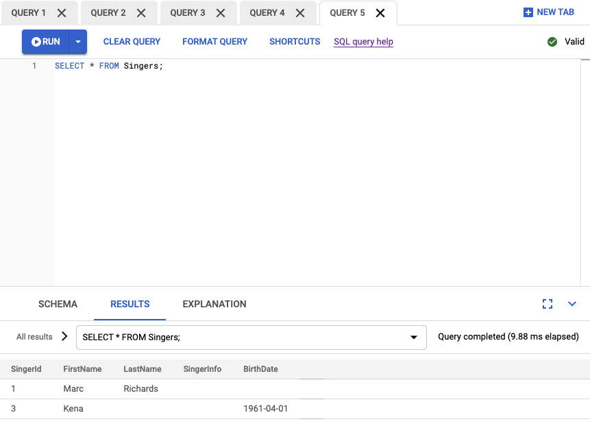 Screenshot of query results