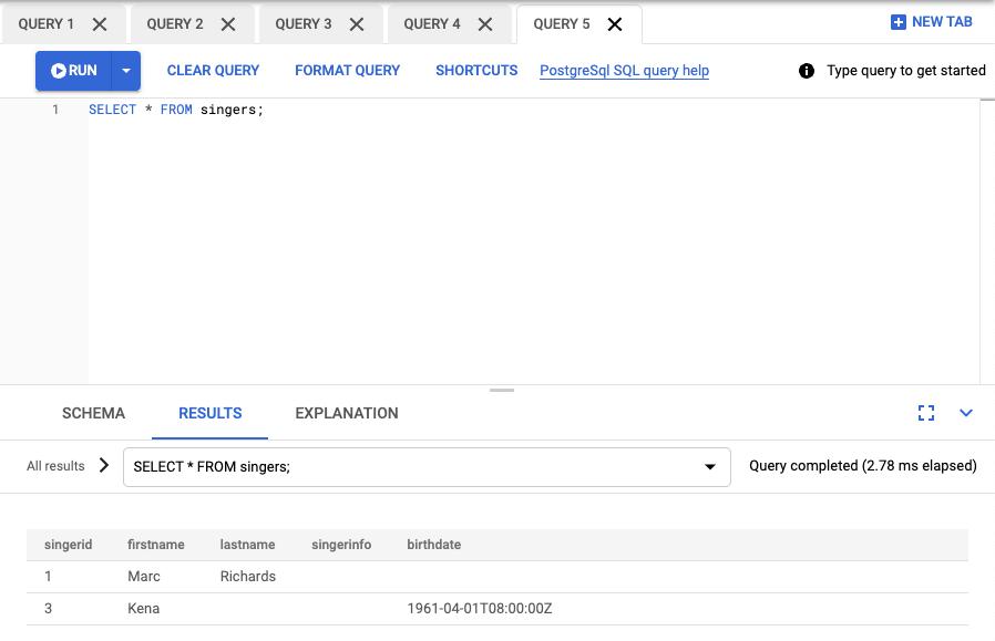 Captura de tela dos resultados da consulta
