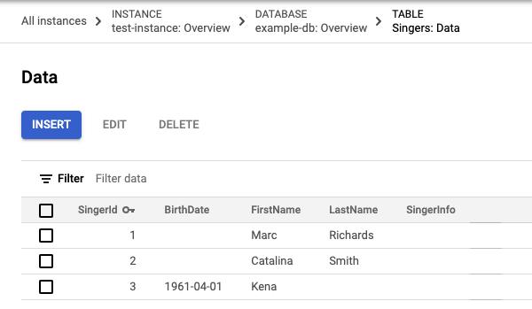 3 行で構成される Singers テーブルデータのスクリーンショット(3 行目に BirthDate 値が含まれている)