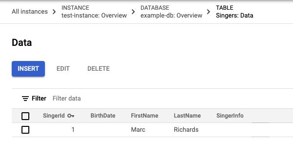 Captura de pantalla de los datos de la tabla Cantantes (Singers) con una fila
