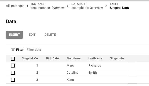 3 行で構成される Singers テーブルデータのスクリーンショット