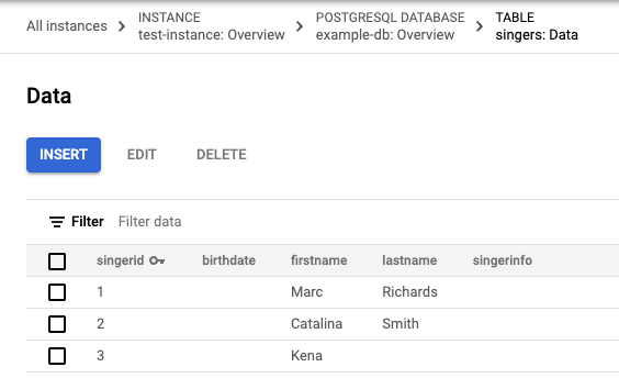 Captura de tela dos dados da tabela Singers com três linhas
