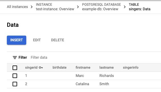 两行 Singers 表数据的屏幕截图