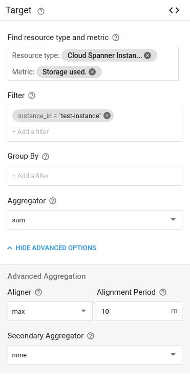Screenshot of storage usage alert Target settings