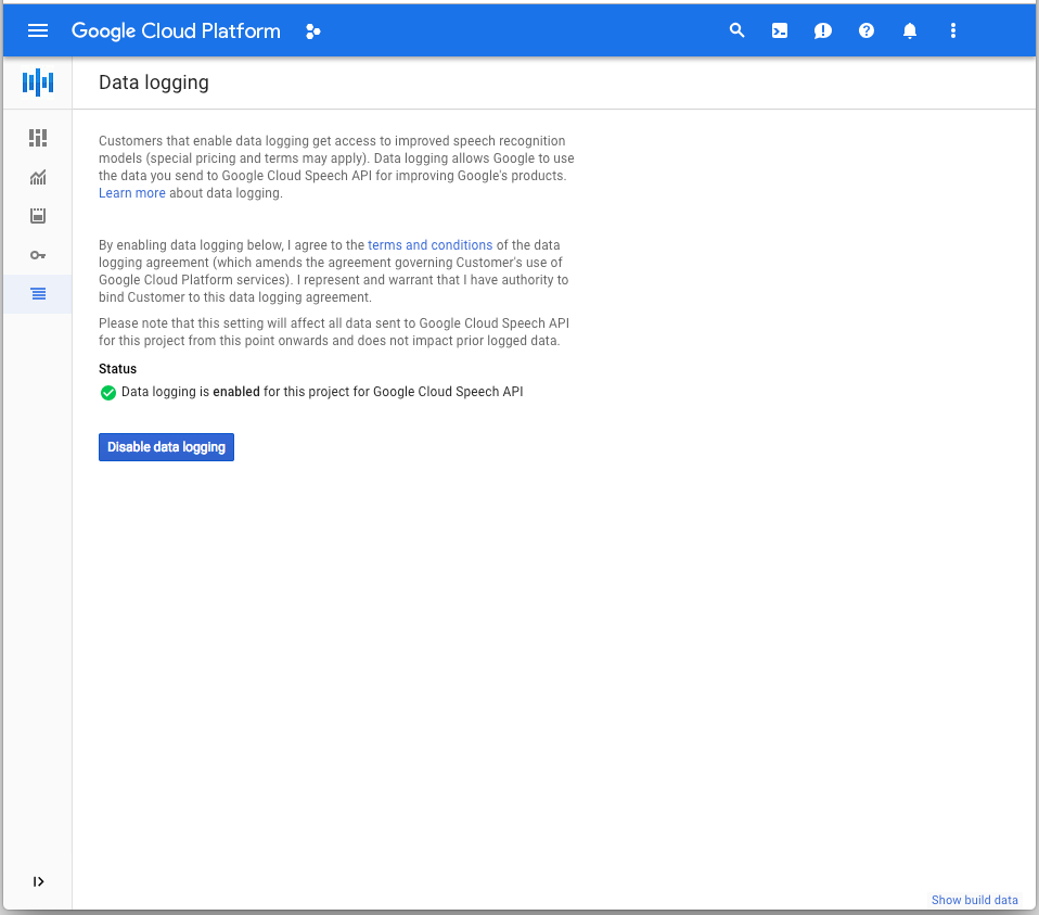 Google CloudConsole avec bouton de désactivation de la journalisation des données
