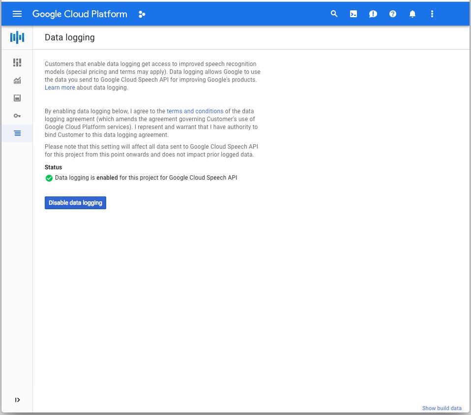 데이터 로깅을 사용 중지하는 버튼이 있는 Google Cloud Console