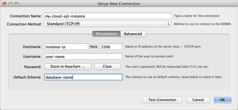 The Setup New Connection, Parameters in MySQL Workbench.