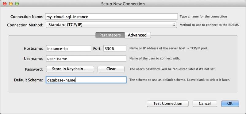 Configurar nova conexão, Parâmetros no MySQL Workbench