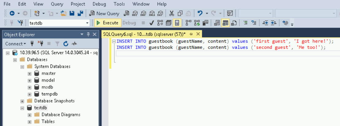 Enter two Insert statements