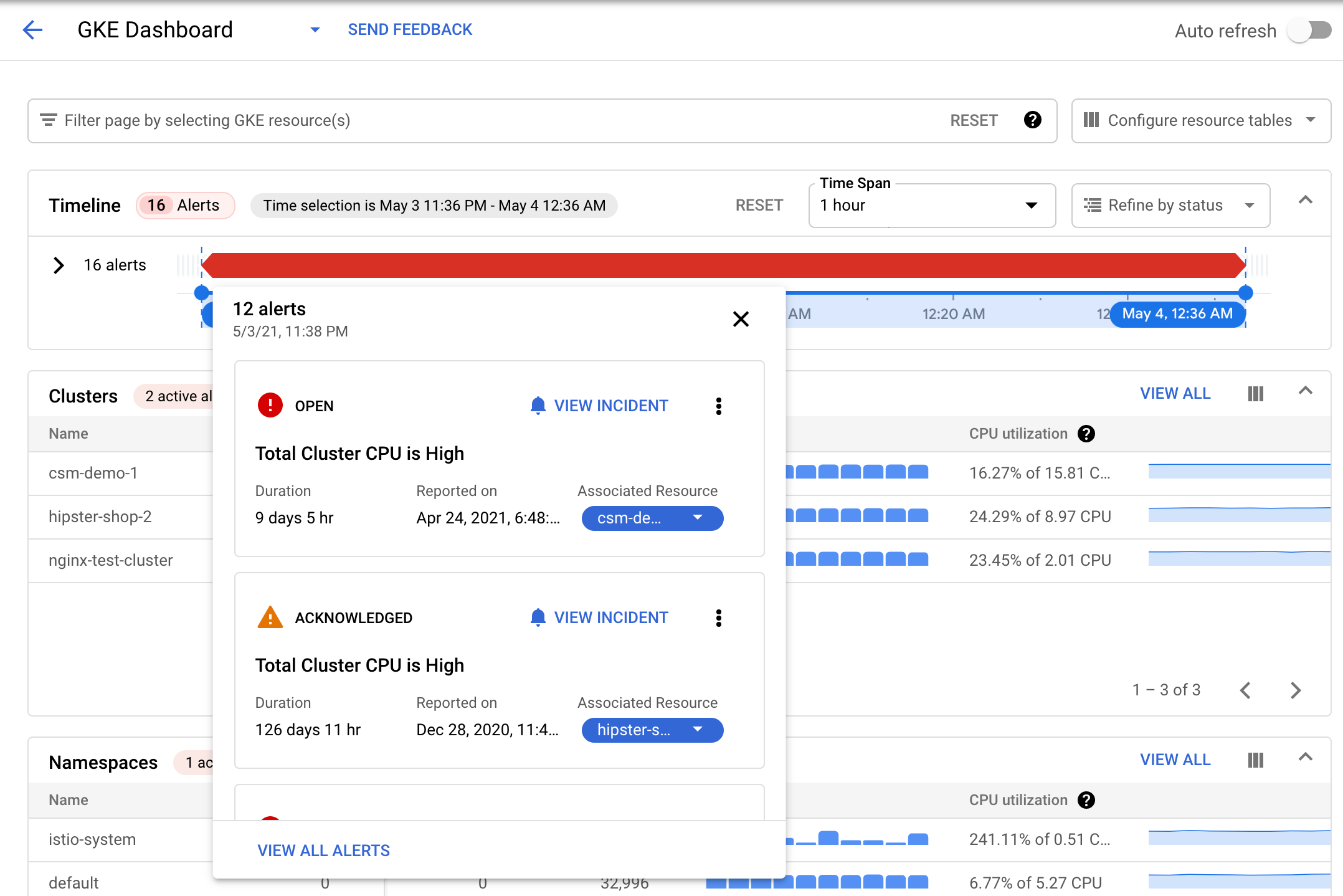 Using the timeline view of a Kubernetes alert.