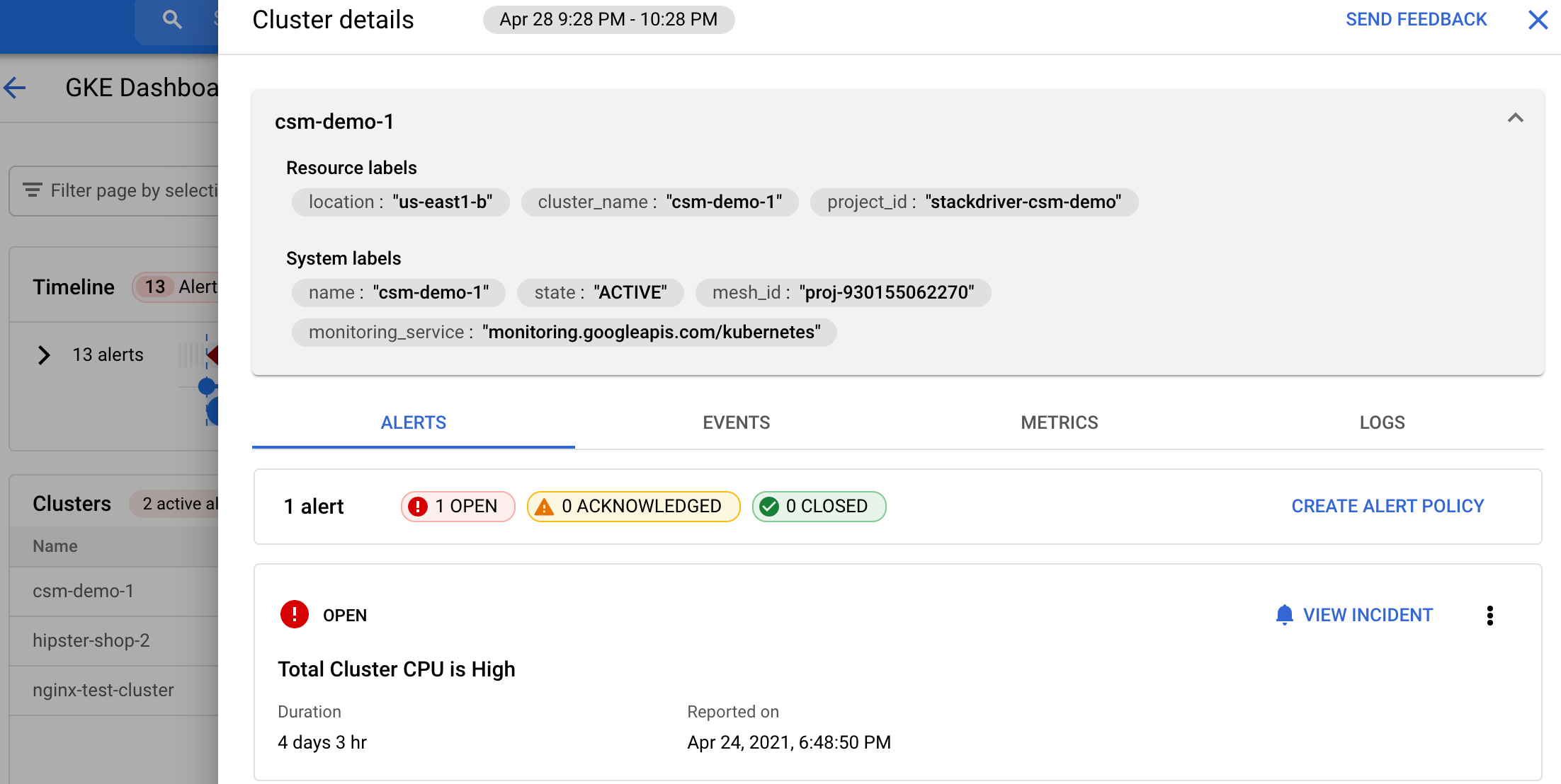 Display of a Kubernetes alerts details.