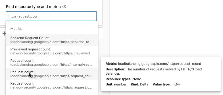 指標の種類を示すポップアップ カードが表示されている Metrics Explorer の負荷分散指標