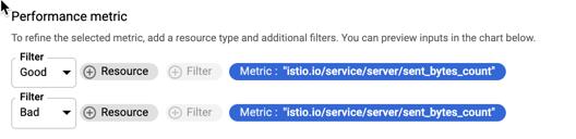 Définissez des filtres de numérateur et de dénominateur pour un ratio de séries temporelles.
