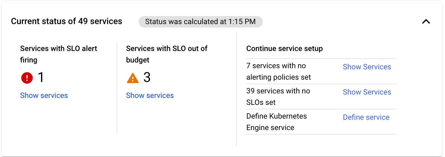 Die Zusammenfassungskarte von **Übersicht über Dienste** enthält grundlegende Statusinformationen