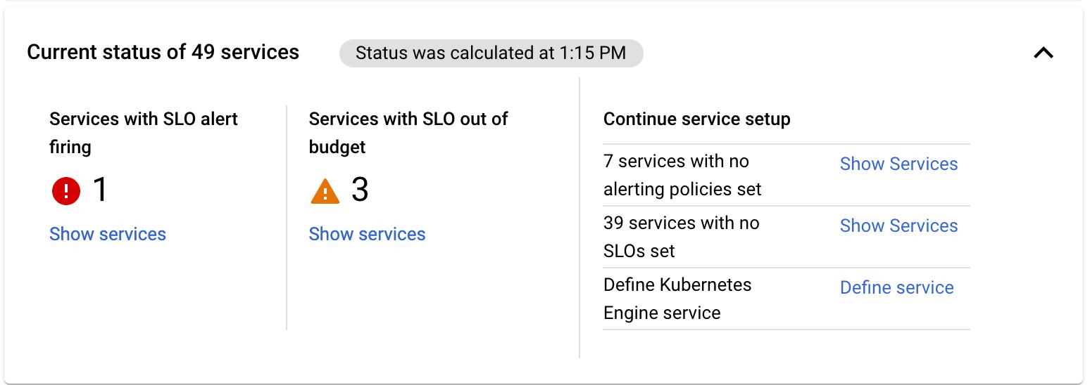La fiche récapitulative **Aperçu des services** fournit des informations de base sur l'état des services.