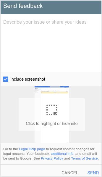La interfaz de usuario que muestra el diálogo Enviar comentarios.