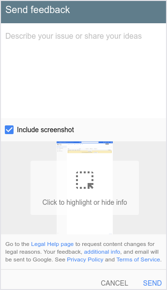 The user interface showing the   Send feedback dialogue.