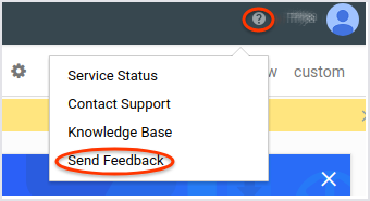 The user interface showing the   Monitoring Send feedback dialogue.