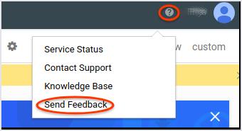 La interfaz de usuario que muestra el diálogo Enviar comentarios de Monitoring.