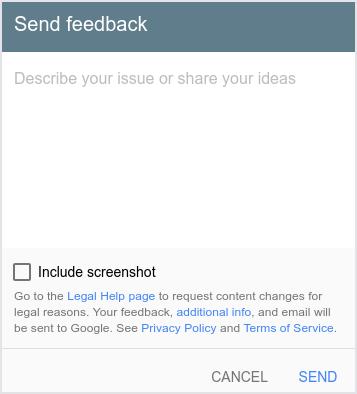 A interface do usuário exibe a caixa de diálogo Enviar feedback.