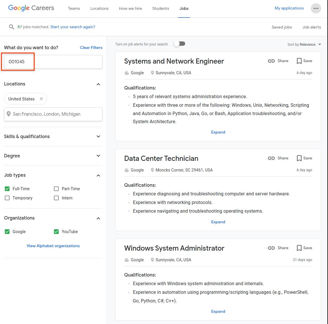 Military codes | Job Search documentation | Google Cloud