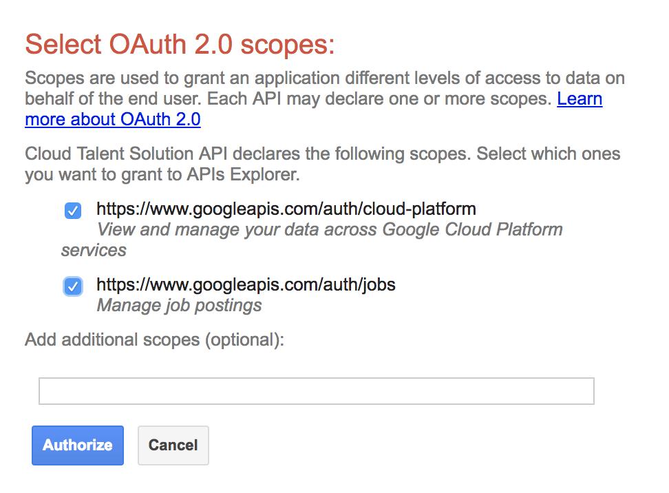 Autorização do APIs Explorer