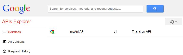Explorador de APIs do Cloud Endpoints