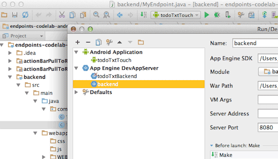 Executar configuração de back-end