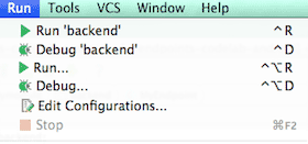 Run backend configuration