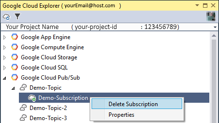 Image showing how to delete a subscription