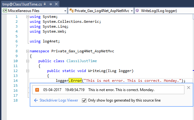 Image showing source code accessed from link in log entry