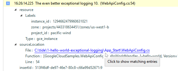Image showing how to click to find similar log entries