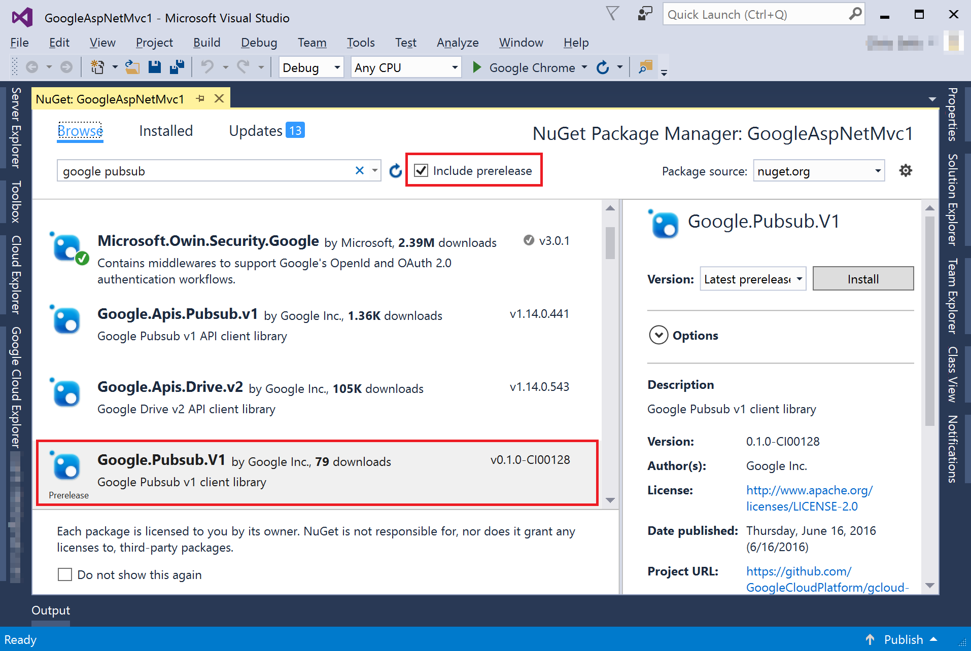 finding a google api library cloud tools for visual studio