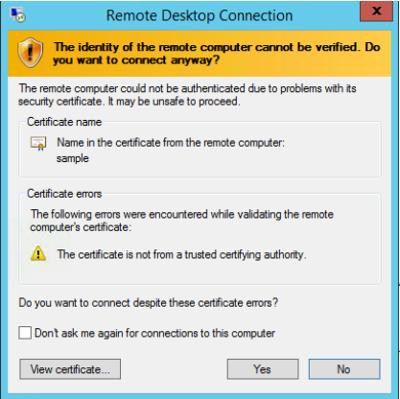 Identidade do computador remoto