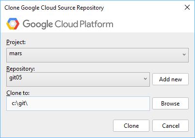 """Boîte de dialogue contenant un champ pour sélectionner un projet et un champ pour sélectionner un dépôt. Le bouton """"Add new"""" (Ajouter nouveau) permet de créer un dépôt. La boîte de dialogue comprend également un champ permettant de saisir le chemin du répertoire où le code source doit être cloné. Le bouton """"Browse"""" (Parcourir), qui ouvre une fenêtre d'explorateur de fichiers, permet de même d'accéder à l'emplacement du clone."""