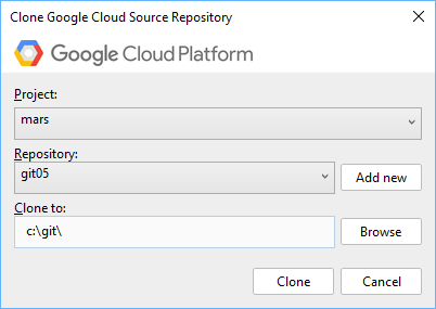Dialog box with a field for selecting a project and a repository. An Add new button allows you to create a new repository. The dialog also provides a field for entering a path to clone the source code to. A Browse button allows you to open a file explorer window to navigate to the clone location instead.