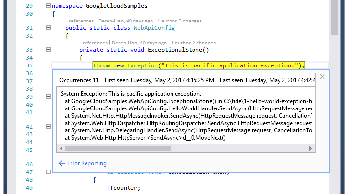 Image showing the source code associated with the error
