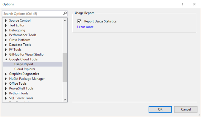 Dialog that shows the Options menu. The Google Cloud Tools facet is expanded and the Report Usages Statistics checkbox is selected.