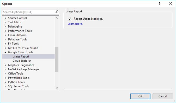 """Caixa de diálogo que mostra o menu """"Opções"""". O atributo do Google Cloud Tools é expandido e a caixa de seleção """"Estatísticas de uso do relatório"""" é marcada."""