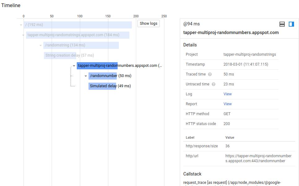 Panel de detalles de Cloud Trace.