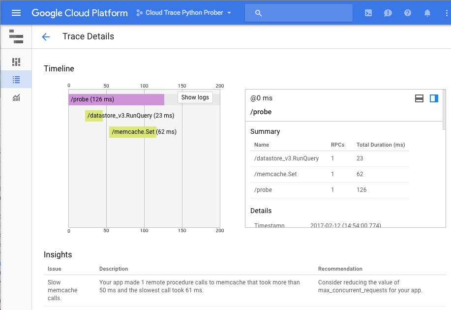 Panel de detalles de estadísticas de Cloud Trace.