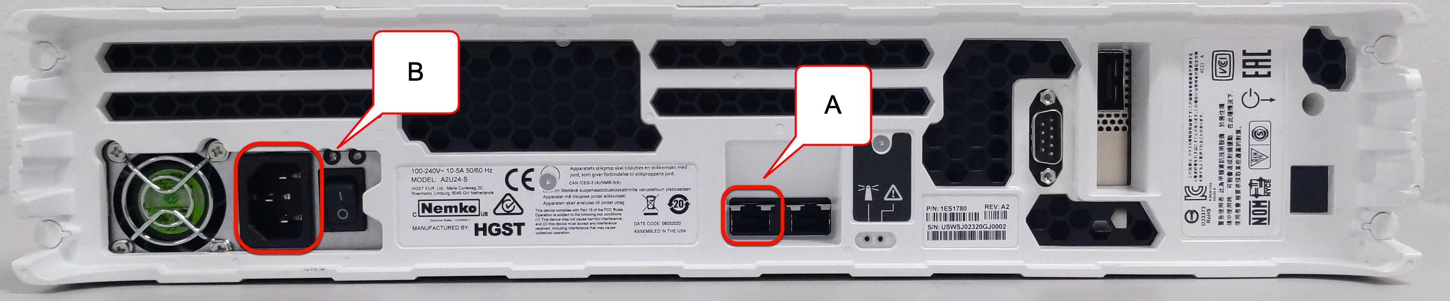 Transfer Appliance のケーブル接続