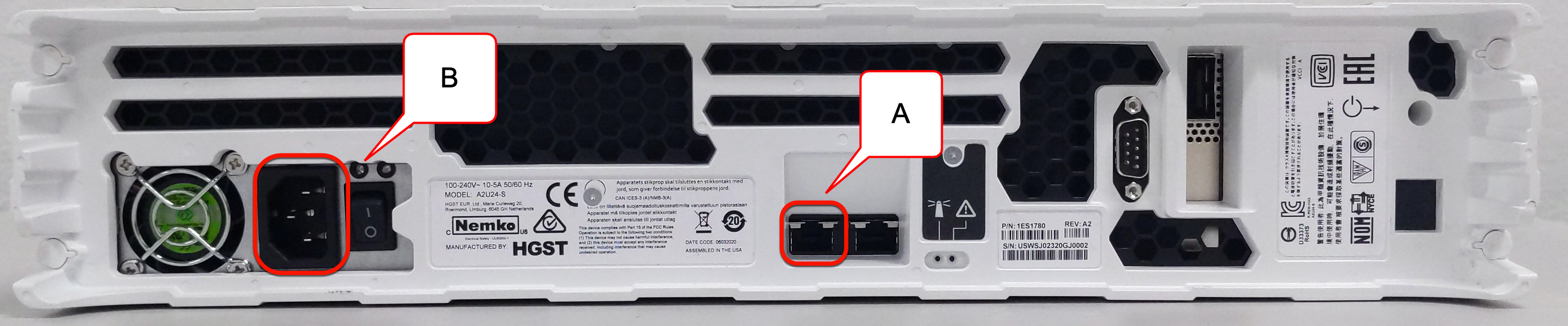 Cable connections for Transfer Appliance