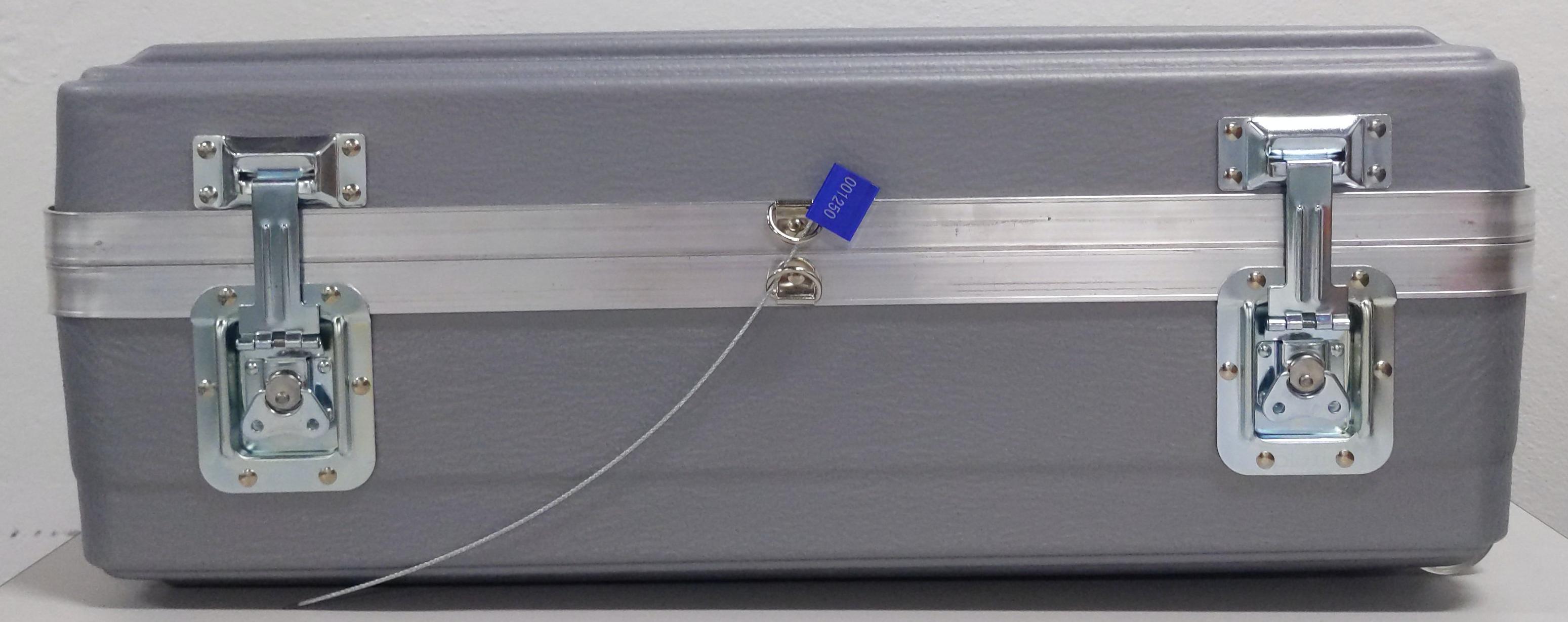 輸送ケースの D リングに改ざん防止ワイヤータグを挿入する